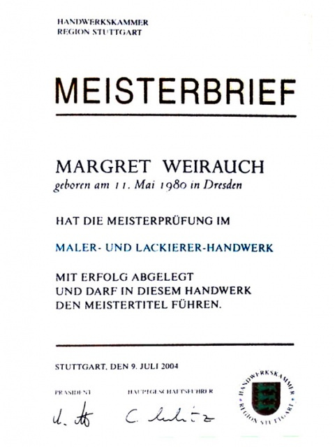 Meisterbrief - Margret Weirauch - Ihre Raumentfaltung