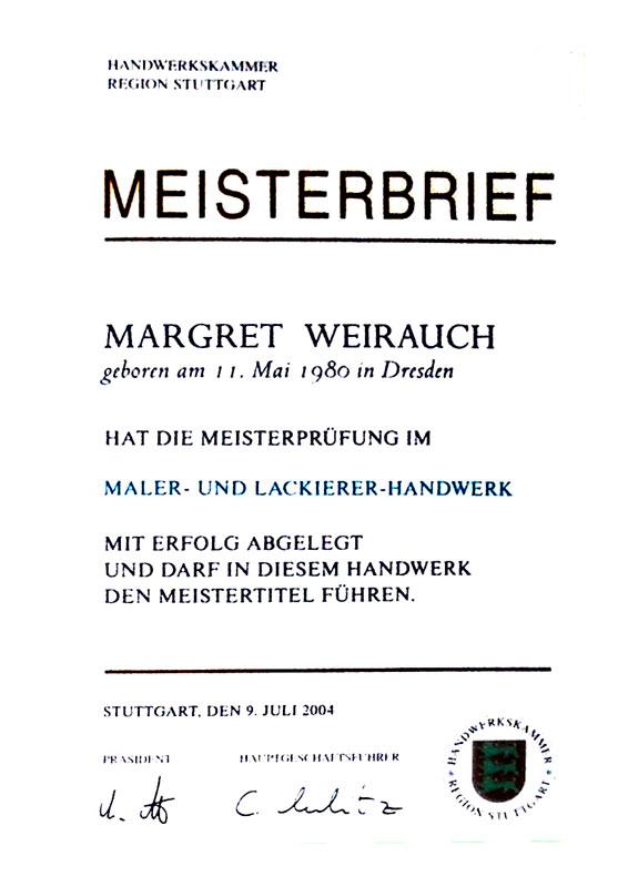 Meisterbrief - Margret Weirauch