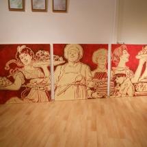 Gemaelde Rot auf Gold, Margret Weirauch - Ihre Raumentfaltung
