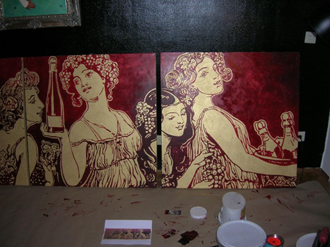 Malerei mit Gold und Rot von Margret Weirauch - Ihre Raumentfaltung Ort: Luxemboug Casino2000