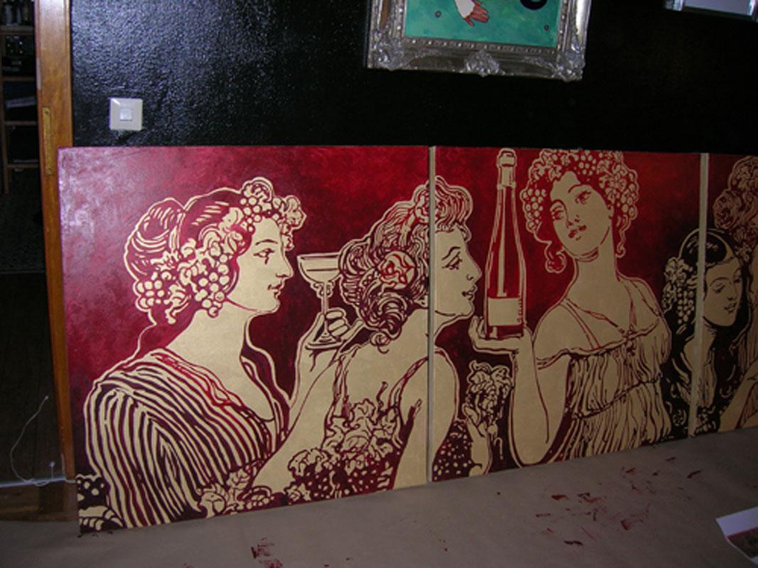 Malerei mit Wein und Frauen von Margret Weirauch - Ihre Raumentfaltung Ort: Luxembourg Casino 2000